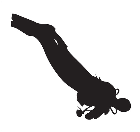 Background. Abstraction. A silhouette of the skin-diver under water Illustration