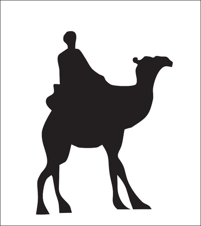 Background. Abstraction. A silhouette of a camel with the person in desert Stock Vector - 9081255