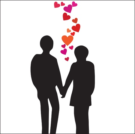 Abstraction. A silhouette of a loving couple with hearts Stock Vector - 9133550
