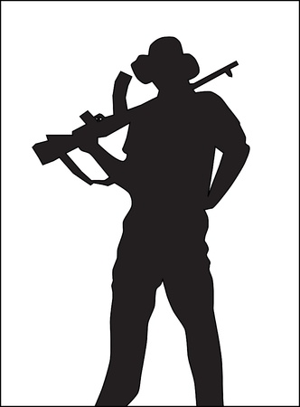 Background. A silhouette of the military person with the automatic machine.