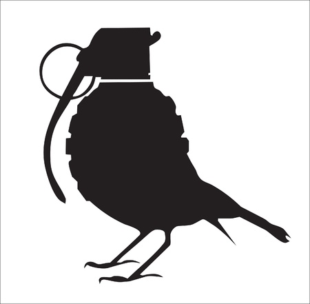 war bird: Abstraction. A silhouette. A silhouette of a bird with a head from a grenade