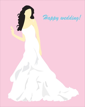 Background. Abstraction. A card with the girl in a wedding dress. Vector
