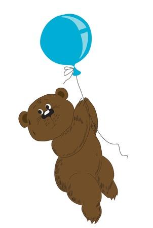 Drawing for a cartoon film. A bear on a balloon Vector