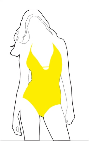 Abstract background. A silhouette of the girl in a bathing suit
