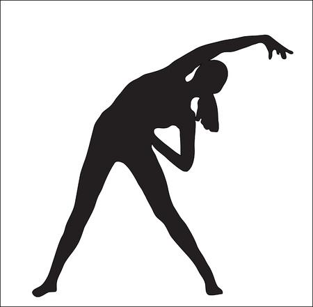 Abstracción. Una silueta de la chica que gimnasia