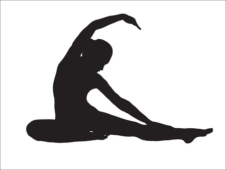 Abstraction. A silhouette of the girl engaged gymnastics