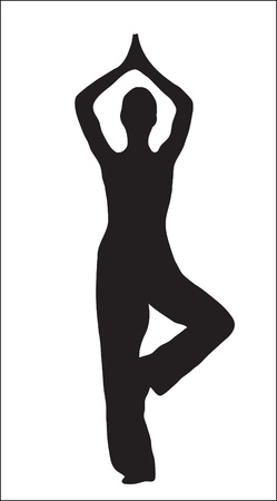 Abstraction. An abstract silhouette of the girl engaged yoga