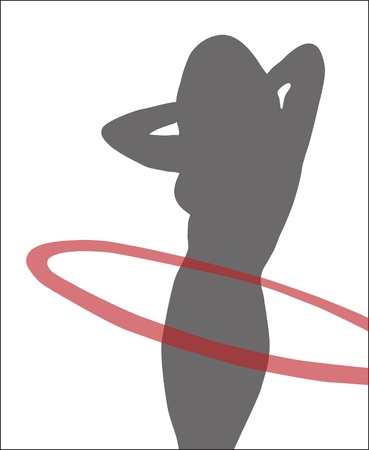 Abstraction. A silhouette of the girl with a hoop