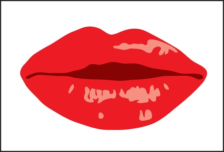 Background. Volume female lips with lipstick Stock Vector - 9363283