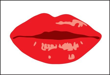 Background. Volume female lips with lipstick