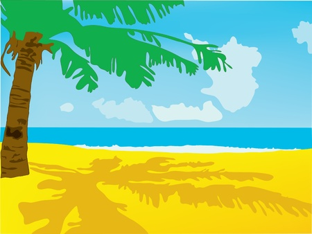 Summer background. A beach with the sea and a palm tree Illustration