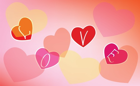 Abstract background. A pink background with hearts and an inscription