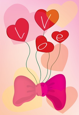 Abstract background. A pink background with hearts and a bow Vector