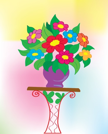 Background. A bouquet with colors in a vase Vector