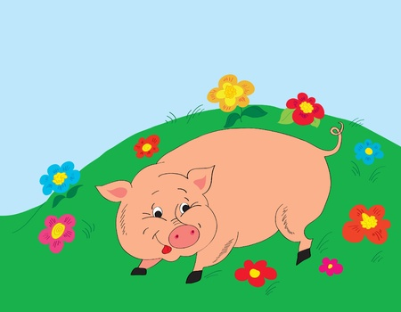 Background. A cheerful pig on a glade with colors Stock Vector - 9534737
