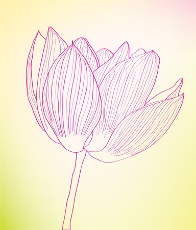 Fine pink abstract flower against. Illustration