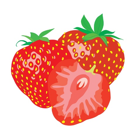 Background. Three ripe juicy strawberries.