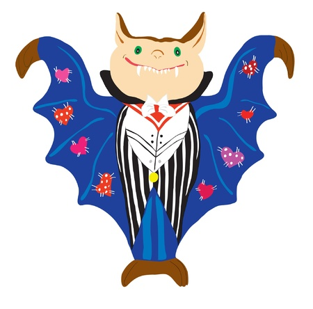 drakula: Image of the cheerful vampire in a suit and a dark blue raincoat.