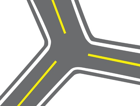 markings: Crossroads with an asphalt covering and a dividing strip. Illustration