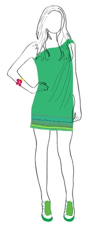 Silhouette of the harmonous girl in a green dress. Stock Vector - 9931110