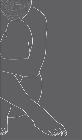 nude man: Abstract silhouette of a beautiful girl. Illustration