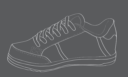 Sports shoes with laces. Vector