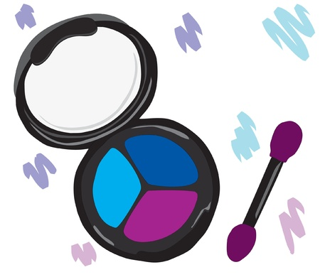 eyelids: Cosmetic eye shadow with a brush.