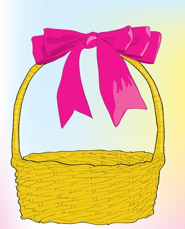 Beautiful wattled basket with a pink bow. Stock Vector - 10127806
