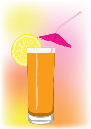 Orange cocktail with a tubule and an umbrella. Vector