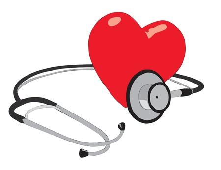 estetoscopio corazon: Corazón humano y estetoscopio. Vectores
