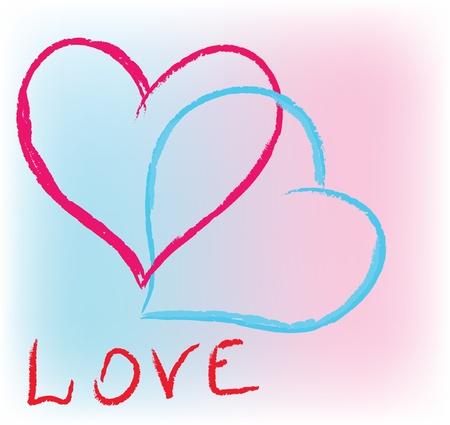 lesbian: Deux coeurs d'amour de couleurs.