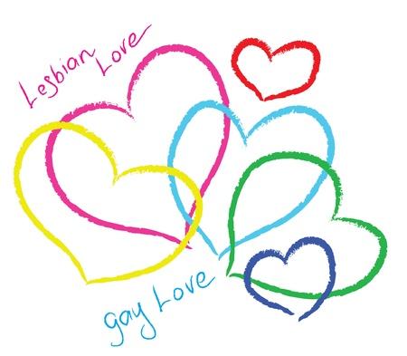 lesbian: L'amour lesbien. Coeurs belle couleur. Illustration