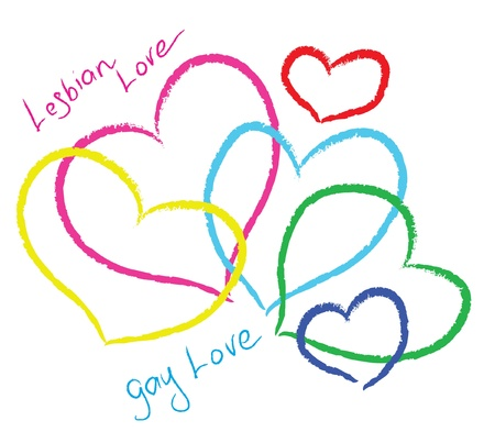 gay marriage: Lesbian love. Beautiful color hearts.