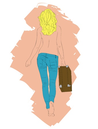 The harmonous blonde in jeans and with a suitcase.