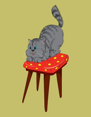 stool: Cheerful gray cat on a chair.