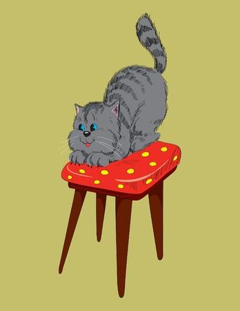 escabeau: Enthousiaste chat gris sur une chaise. Illustration