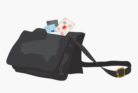 Bag of the postman with letters. Stock Vector - 10666136