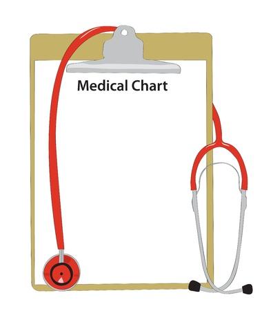 test results: Stetoscopio medico con una scheda malattia. Vettoriali