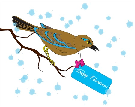 Bird on a branch with a greeting card for Christmas Stock Vector - 10666144