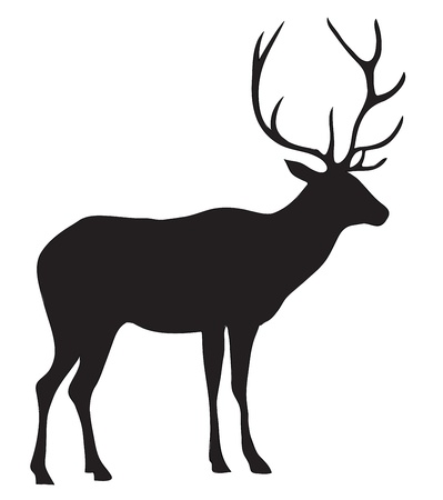buck: Black silhouette of a deer. Illustration