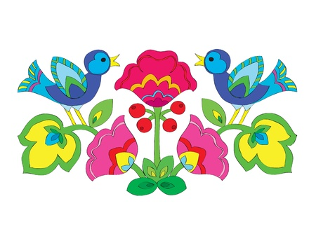 Adorno de flores de color con aves. Foto de archivo - 10666143