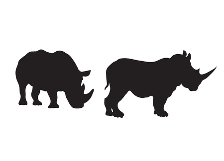 Abstract silhouette of a rhinoceros. Stock Vector - 10708432