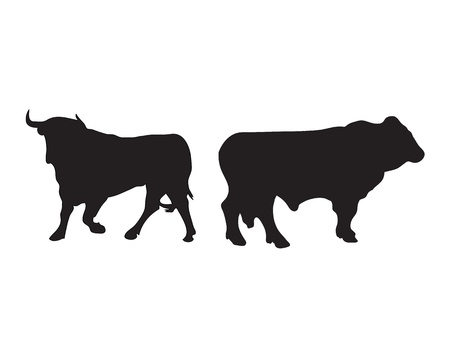 Abstract black silhouette of a bull. Vector