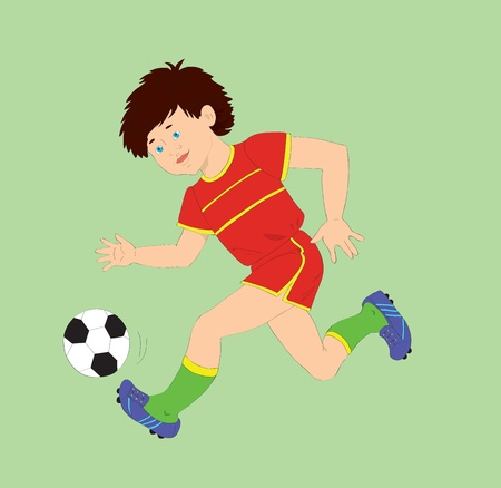 The boy with a ball playing football. Vector