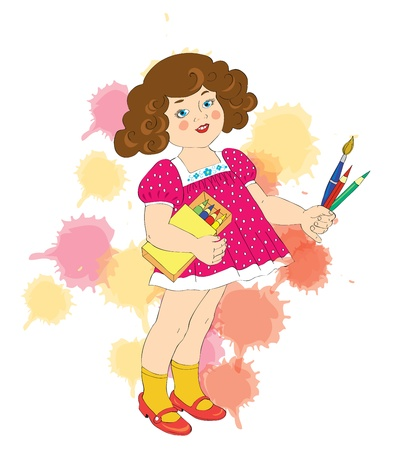 The beautiful girl with pencils and a brush. Vector