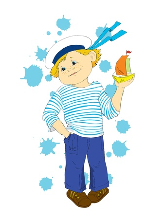 The young seaman with a toy ship. Vector