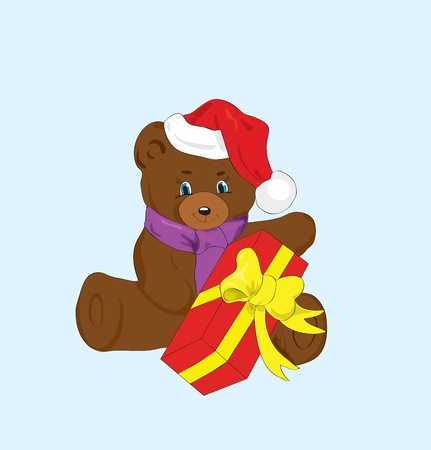 Toy bear with a gift for new year. Vector