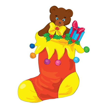 New Years sock with gifts and a bear. Vector