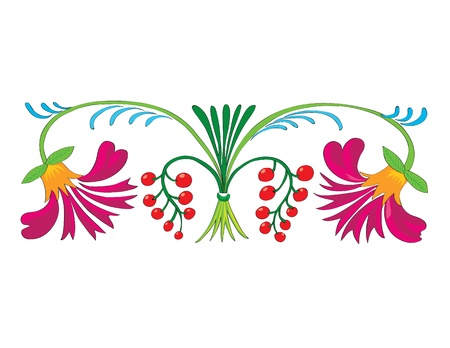 Ornament. A bright flower pattern with berries.