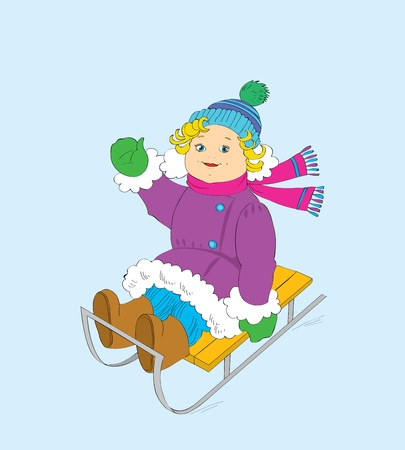 mountain skier: The cheerful girl on a sledge.